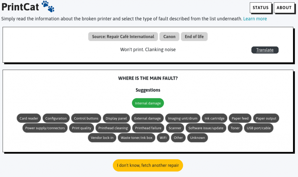 The picture shows PrintCat's user interface